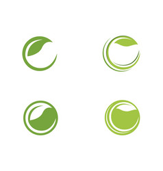 c letter logos of green tree leaf ecology nature vector image