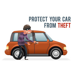 Car thief steal automobile robber robbery purse vector