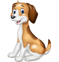 Cartoon happy dog sitting vector