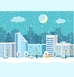 Christmas winter city landscape with vector