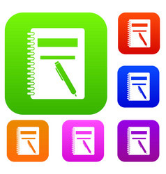 closed spiral notebook and pen set collection vector image