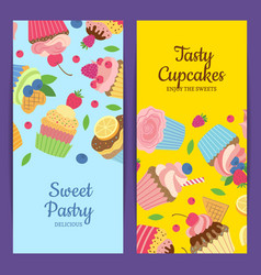 cute cartoon muffins or cupcakes web banner vector image