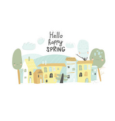 cute little town with funny cartoon trees hello vector image