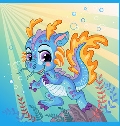 cute little water dragon background vector image