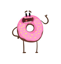 Delicious donut standing and waving hand cartoon vector
