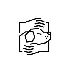 dog care hand hugs logo icon line outline monoline vector image