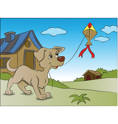 Dog flying a kite vector