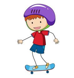 Doodle boy playing skateboard vector