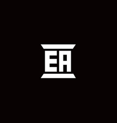 Ea logo monogram with pillar shape designs vector