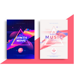 Electro music festival poster with abstract lines vector