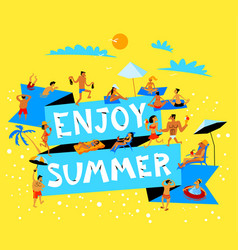 enjoy summer lettering summer beach banner with vector image