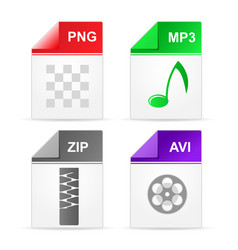 Filetype format icons - zip png mp3 avi vector