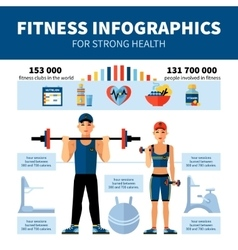Fitness Infographics With Sport Clubs Statistics vector image