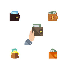 Flat icon wallet set of purse wallet money and vector