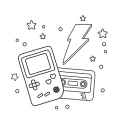 Game boy cassette and lighting black and white vector