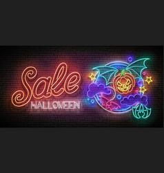 Glow halloween greeting card with vampire pumpkin vector
