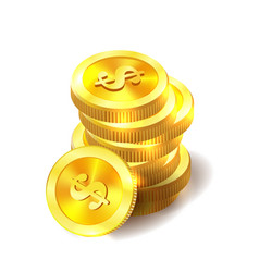 golden coins money isolated on white vector image