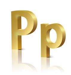 Golden letter p vector