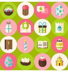 Green Happy Easter Seamless Pattern with Circles vector image