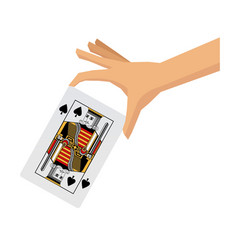 Hand holding playing cards poker concept of vector