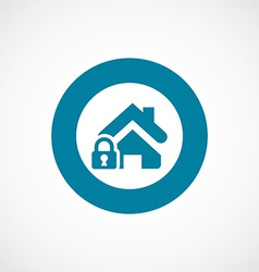 Home lock icon bold blue circle border vector