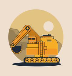 Hydraulic excavator vehicle vector