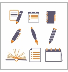 Icons of notepads and pencils vector