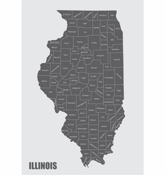 Illinois counties map vector