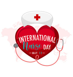 International nurse day logo on big heart vector