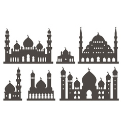 Islamic mosque silhouette set vector