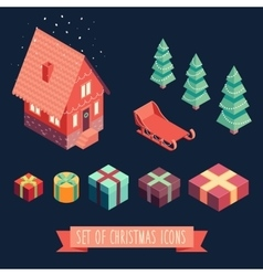 Isometric christmas Merry Christmas new year vector image