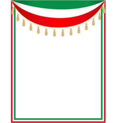 italian holiday border with italian flag vector image