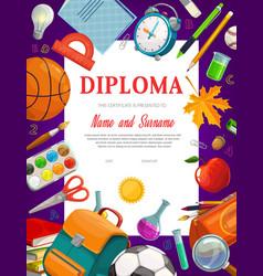 Kids education diploma certificate template vector