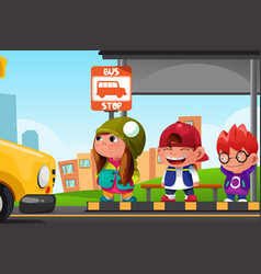 kids waiting at a bus stop vector image