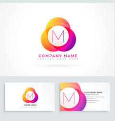 letter m logo with business card template vector image