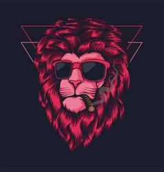Lion pink smoking vector