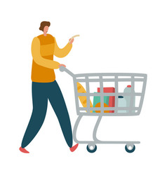 man shopper with shopping cart male character vector image