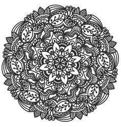 mandala floral hand drawn for coloring vector image