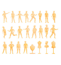 Mannequin icons set cartoon style vector