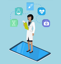 medical app with doctor female in phone vector image