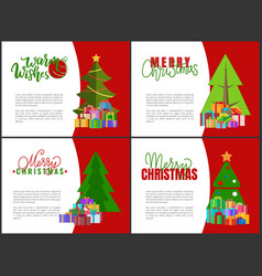 Merry christmas cards green xmas trees garlands vector