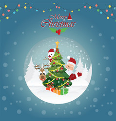 merry christmas greeting card with christmas vector image