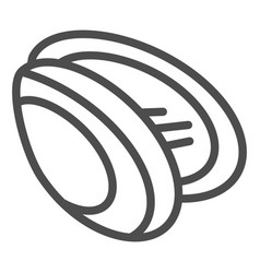 Mussel line icon shell vector