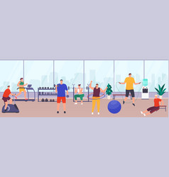 People exercising in gym sports equipment womens vector