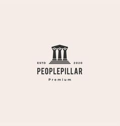 People law pillar logo hipster vintage retro icon vector
