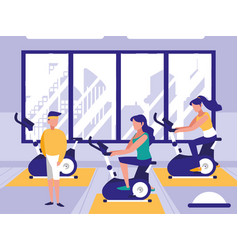 People riding spinning bicycle in sport gym vector