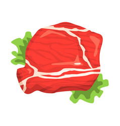 Piece raw beef food item rich in proteins vector
