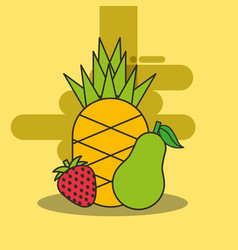 pineapple strawberry and pear fresh delicious vector image