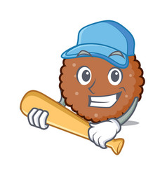 Playing baseball chocolate biscuit character vector