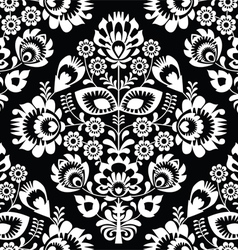 Polish folk art white seamless pattern on black vector